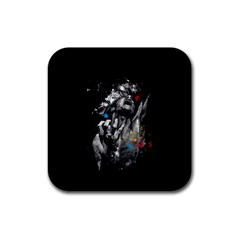 Man Rage Screaming  Rubber Coaster (square)  by amphoto