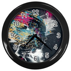 Face Paint Explosion 3840x2400 Wall Clocks (black) by amphoto