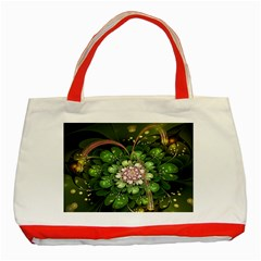 Fractal Flower Petals Green  Classic Tote Bag (red) by amphoto