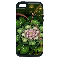 Fractal Flower Petals Green  Apple Iphone 5 Hardshell Case (pc+silicone) by amphoto