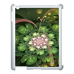 Fractal Flower Petals Green  Apple Ipad 3/4 Case (white) by amphoto
