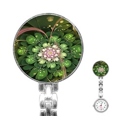 Fractal Flower Petals Green  Stainless Steel Nurses Watch by amphoto