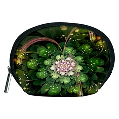 Fractal Flower Petals Green  Accessory Pouches (medium)  by amphoto