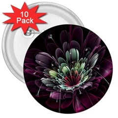 Flower Burst Background  3  Buttons (10 pack)