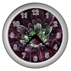 Flower Burst Background  Wall Clocks (silver)  by amphoto