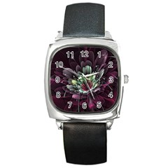 Flower Burst Background  Square Metal Watch by amphoto