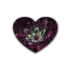 Flower Burst Background  Rubber Coaster (heart)  by amphoto