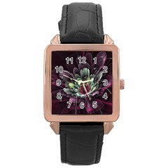 Flower Burst Background  Rose Gold Leather Watch