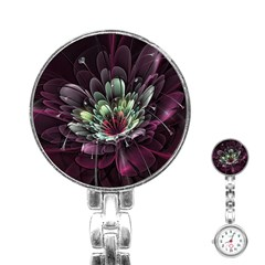 Flower Burst Background  Stainless Steel Nurses Watch by amphoto