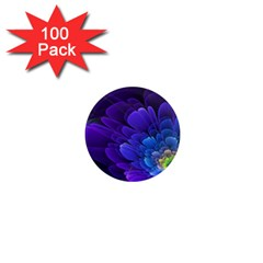 Purple Flower Fractal  1  Mini Magnets (100 Pack)  by amphoto