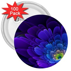 Purple Flower Fractal  3  Buttons (100 Pack)  by amphoto