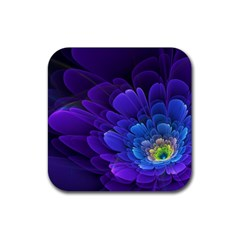 Purple Flower Fractal  Rubber Square Coaster (4 Pack)  by amphoto