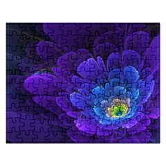 Purple Flower Fractal  Rectangular Jigsaw Puzzl by amphoto