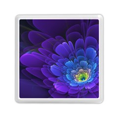 Purple Flower Fractal  Memory Card Reader (square)  by amphoto