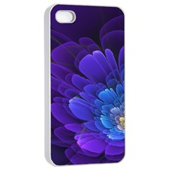 Purple Flower Fractal  Apple Iphone 4/4s Seamless Case (white) by amphoto