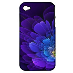 Purple Flower Fractal  Apple Iphone 4/4s Hardshell Case (pc+silicone) by amphoto