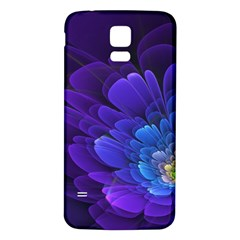 Purple Flower Fractal  Samsung Galaxy S5 Back Case (white) by amphoto
