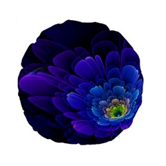 Purple Flower Fractal  Standard 15  Premium Flano Round Cushions by amphoto