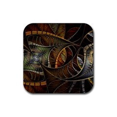 Mosaics Stained Glass Colorful  Rubber Coaster (square)  by amphoto