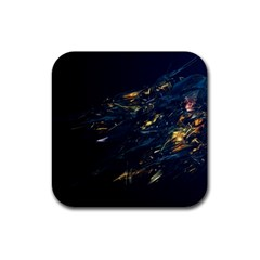 Spots Dark Lines Glimpses 3840x2400 Rubber Square Coaster (4 Pack)  by amphoto