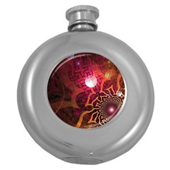 Explosion Background Bright  Round Hip Flask (5 Oz) by amphoto