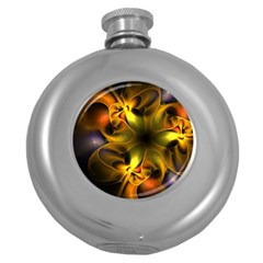 Art Fractal  Round Hip Flask (5 Oz) by amphoto