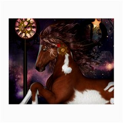 Steampunk Wonderful Wild Horse With Clocks And Gears Small Glasses Cloth by FantasyWorld7