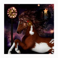 Steampunk Wonderful Wild Horse With Clocks And Gears Medium Glasses Cloth (2 Side) by FantasyWorld7