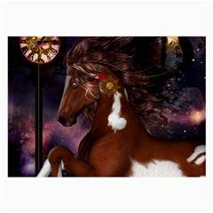 Steampunk Wonderful Wild Horse With Clocks And Gears Large Glasses Cloth (2 Side) by FantasyWorld7
