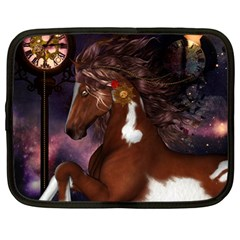 Steampunk Wonderful Wild Horse With Clocks And Gears Netbook Case (large) by FantasyWorld7