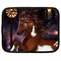 Steampunk Wonderful Wild Horse With Clocks And Gears Netbook Case (xxl)  by FantasyWorld7