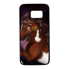 Steampunk Wonderful Wild Horse With Clocks And Gears Samsung Galaxy S7 Black Seamless Case by FantasyWorld7