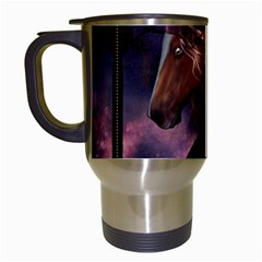 Steampunk Wonderful Wild Horse With Clocks And Gears Travel Mugs (white) by FantasyWorld7