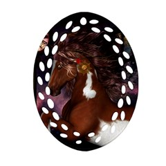 Steampunk Wonderful Wild Horse With Clocks And Gears Oval Filigree Ornament (two Sides) by FantasyWorld7
