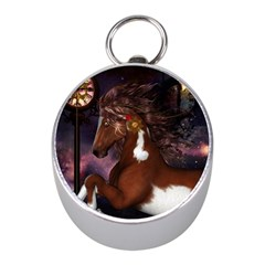 Steampunk Wonderful Wild Horse With Clocks And Gears Mini Silver Compasses by FantasyWorld7
