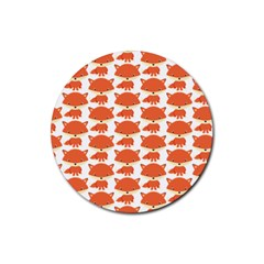 Cute Little Fox Pattern Rubber Coaster (round)  by paulaoliveiradesign