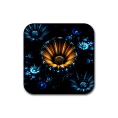 Fractal Flowers Abstract  Rubber Square Coaster (4 Pack)  by amphoto