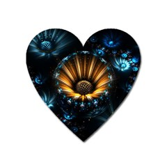 Fractal Flowers Abstract  Heart Magnet by amphoto