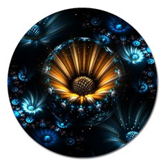 Fractal Flowers Abstract  Magnet 5  (round)