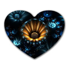 Fractal Flowers Abstract  Heart Mousepads