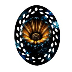 Fractal Flowers Abstract  Oval Filigree Ornament (two Sides) by amphoto
