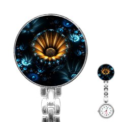 Fractal Flowers Abstract  Stainless Steel Nurses Watch by amphoto