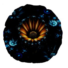 Fractal Flowers Abstract  Large 18  Premium Flano Round Cushions by amphoto