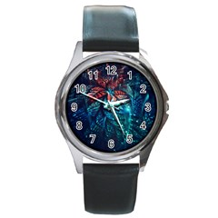 Fractal Flower Shiny  Round Metal Watch