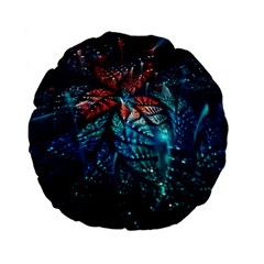 Fractal Flower Shiny  Standard 15  Premium Flano Round Cushions by amphoto