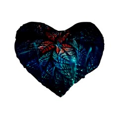 Fractal Flower Shiny  Standard 16  Premium Flano Heart Shape Cushions by amphoto