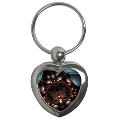 Pattern Fractal Abstract 3840x2400 Key Chains (heart)  by amphoto