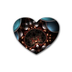 Pattern Fractal Abstract 3840x2400 Rubber Coaster (heart)  by amphoto