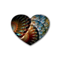 Fractal Patterns Abstract 3840x2400 Rubber Coaster (heart)  by amphoto