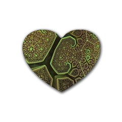 Fractal Weave Shape  Heart Coaster (4 Pack)  by amphoto
